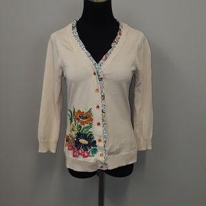 Nick& Mo Anthropologie floral embroidery cardigan